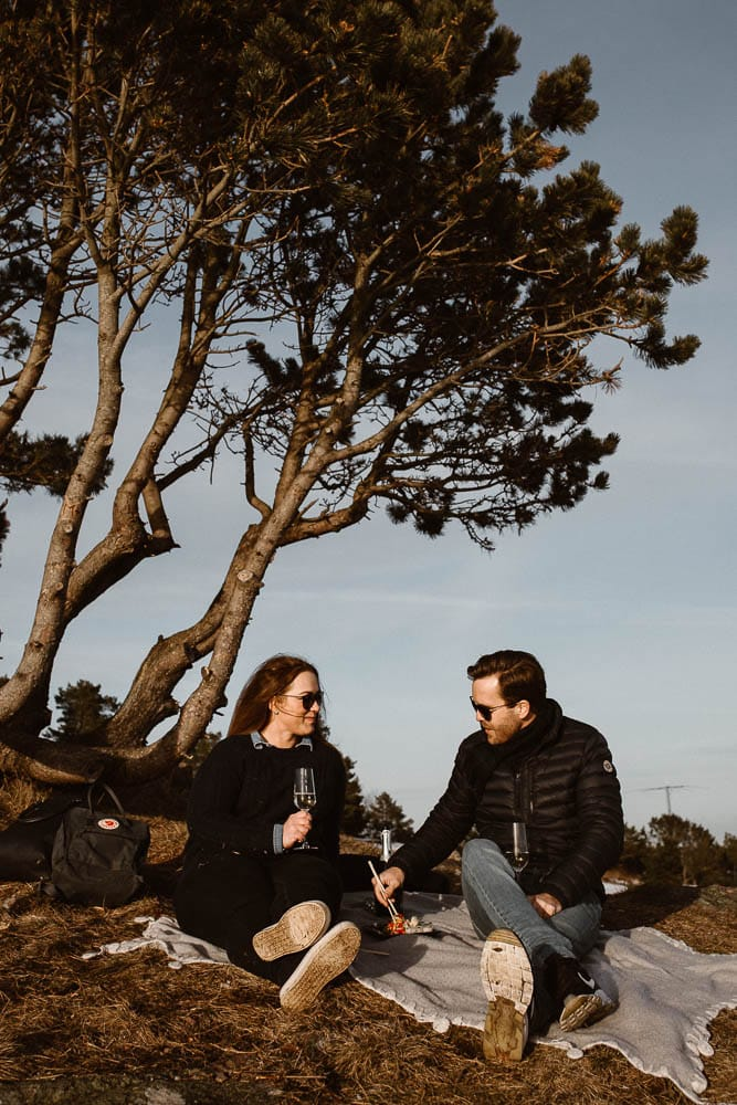Lifestyle photo shoot with wine and sushi in Southern Norway