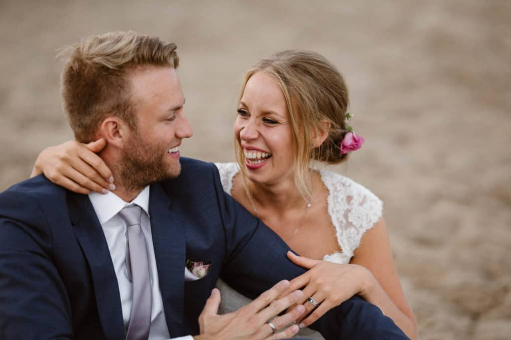 Relaxed festival wedding on the beach